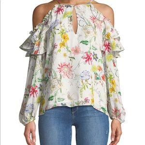 Parker Abby Cold-Shoulder Floral Print Silk Blouse